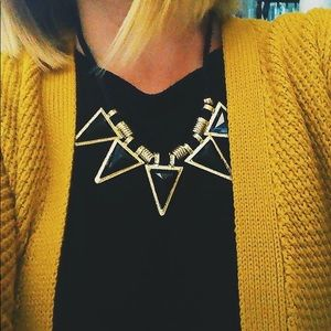 Triangular Black and Gold Necklace